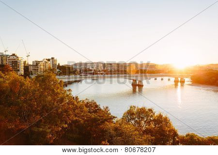 Modern Australian City At Sunset