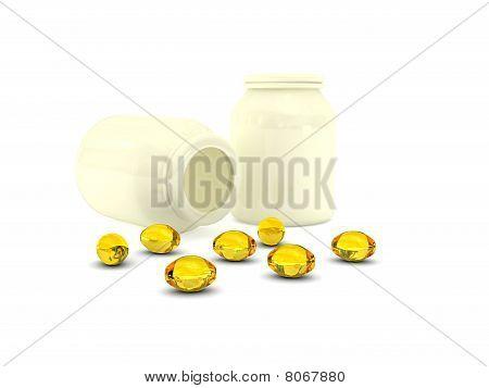pills over white background.