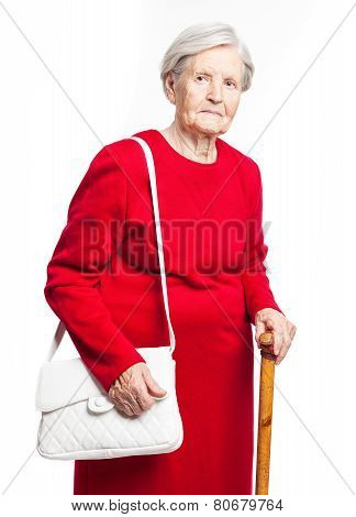 Elegant senior woman over white