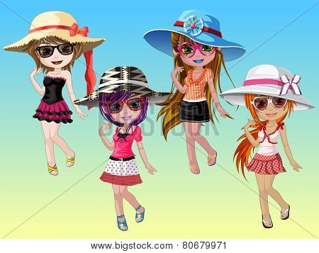 Cute Girl with fashion of eyeglasses and hats