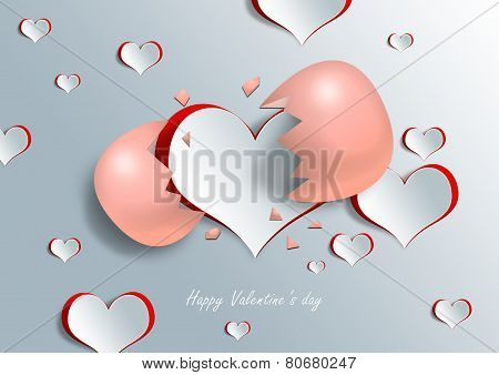 Heart Shape On Paper Craft With Egg