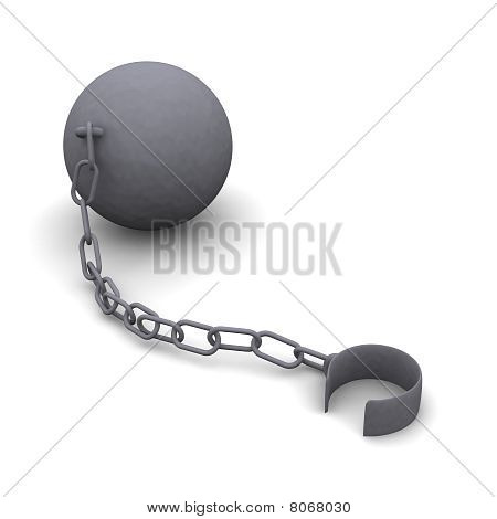 Iron ball and released shackle