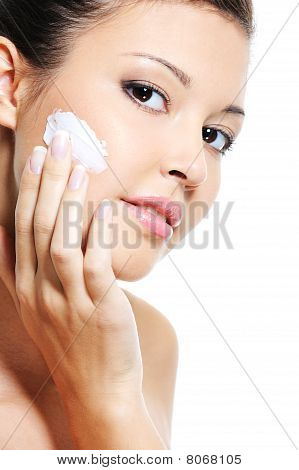 Beauty Caucasian Woman Skincare Of Her Face