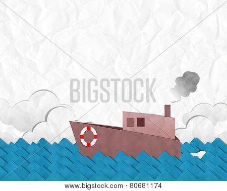Red Paper Ship On Blue Sea