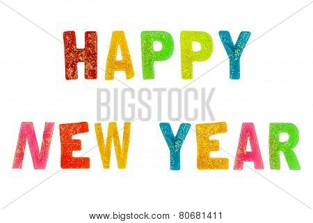 Colourful Rainbow Happy Newyear Text