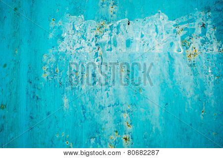 Blue Faded Paint on Metal Background