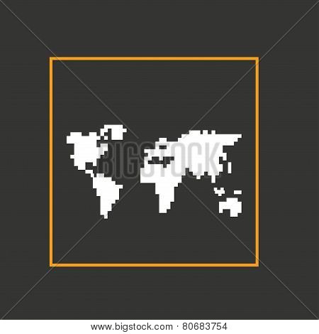 Simple style pixel icon continents. Vector design