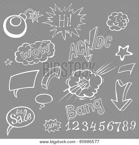 Bomb Explosion Comic Style Templates. Vector Illustration