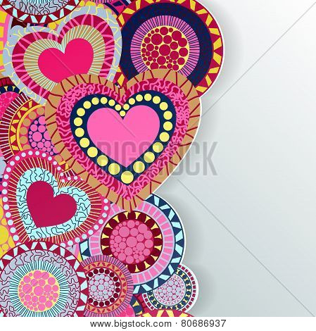 Happy Valentine's Day lettering Greeting Card on red background,