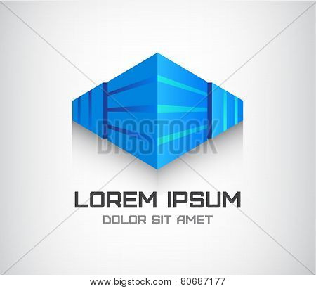 vector 3d abstract cube logo, office building