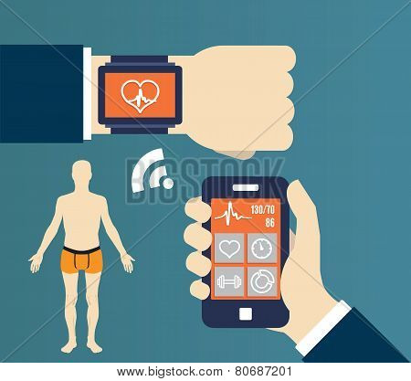 Fitness Application For Health. Synchronization Of Devices