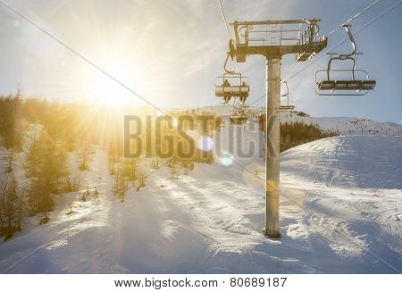 ski-lift in sunshine