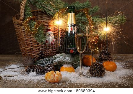 Champagne, Tangerines, Bengal Fire And Fur-tree Branch With Cones, A New Year's Still-life