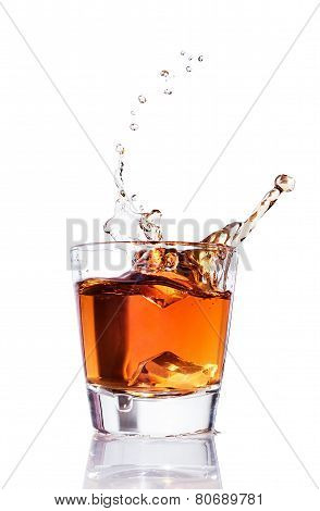 Whiskey Splash In A Glass