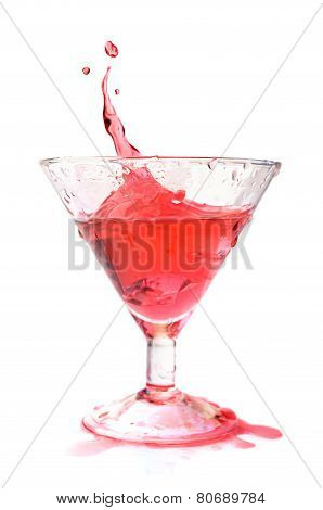 Red Cocktail Splash Isolated
