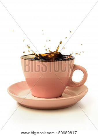Coffee Splash In Pink Cup