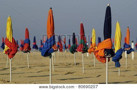 Parasol On Deauville Beach In Normandie