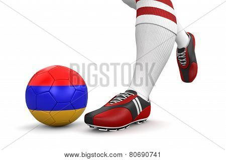 Man and soccer ball  with Armenian flag (clipping path included)