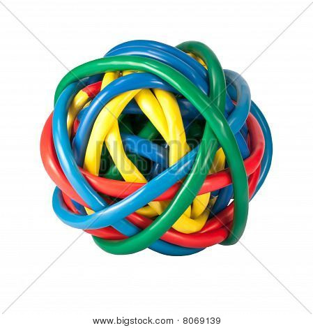 Ball Of Colored Network Cables Isolated On White