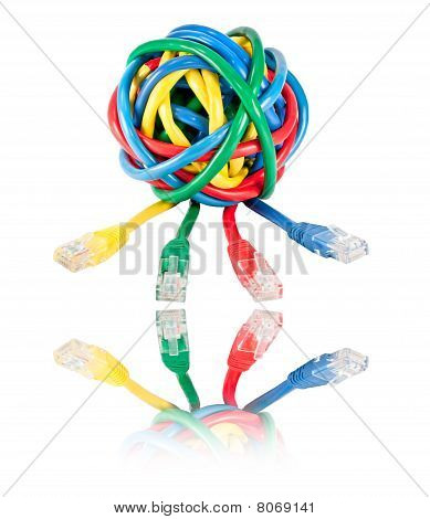 Ball Of Colored Network Cables And Plugs With Reflection Isolated