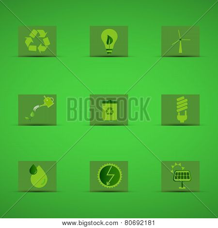 Eco Friendly Icon Set In Green Design On Green Background. Logo And Badge. Love For Environmental En