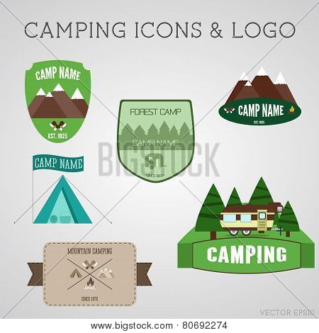 Set Of Outdoor Adventure Badges And Campsite Logo Emblems. Summer 2015 Stickers.