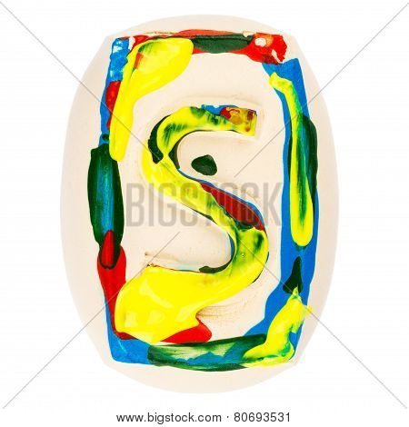 Colorful Handmade Of White Clay Letter S