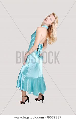Tall Blond Girl In Dress.