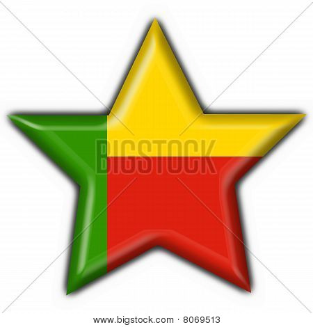 Benin Button Flag Star Shape