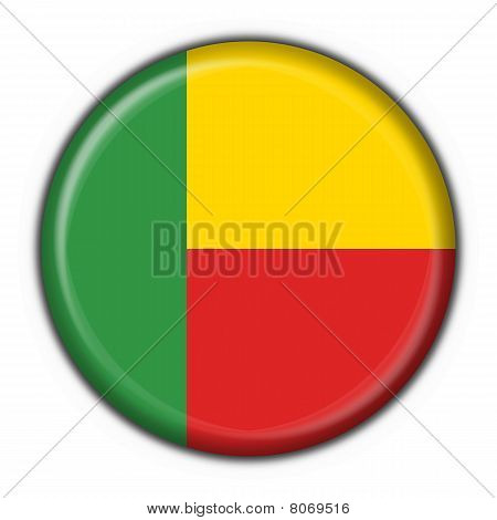 Benin Button Flag Round Shape