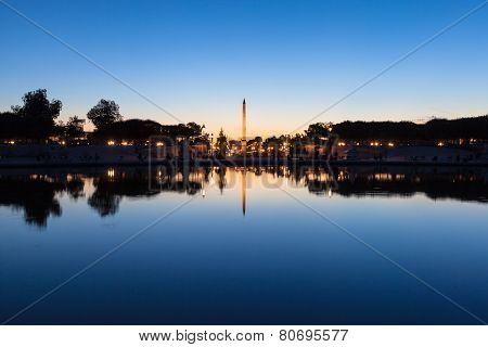 Luxor Obelisk On Place De La Concorde At Nightfall