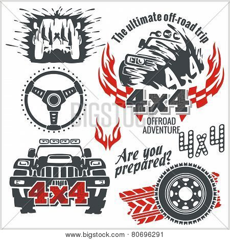 Off-road elements and emblem - vector set