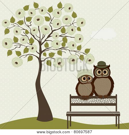 Cute Owls With Tree Roses