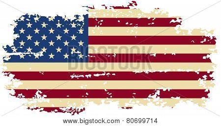 American grunge flag. Vector illustration.