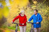 Постер, плакат: Active seniors walking with bike