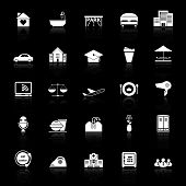 stock photo of clientele  - Hospitality business icons with reflect on black background stock vector - JPG
