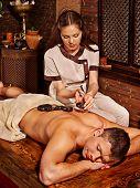 stock photo of ayurveda  - Man  having oil Ayurveda spa treatment - JPG