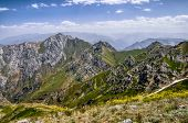 stock photo of shan  - Scenic mountain peaks of Tian Shan near Chimgan in Uzbekistan - JPG