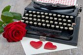 picture of typewriter  - red hearts and antique typewriter for Valentine - JPG