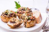 stock photo of portobello mushroom  - Stuffed Mushrooms with Cheese and Smoked Bacon - JPG