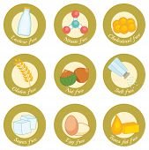 picture of wheat-free  - set of retro style icons concerning nutrition - JPG