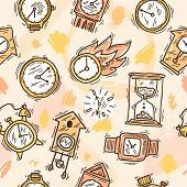 picture of analog clock  - Clock sketch seamless pattern with sand analog watch and stopwatch vector illustration - JPG
