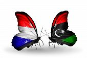 image of libya  - Two butterflies with flags on wings as symbol of relations Holland and Libya - JPG