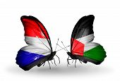 foto of holland flag  - Two butterflies with flags on wings as symbol of relations Holland and Palestine - JPG
