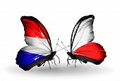 pic of holland flag  - Two butterflies with flags on wings as symbol of relations Holland and Poland - JPG
