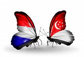 pic of holland flag  - Two butterflies with flags on wings as symbol of relations Holland and Singapore - JPG