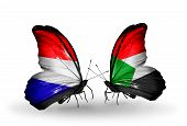 picture of holland flag  - Two butterflies with flags on wings as symbol of relations Holland and Sudan - JPG