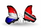 stock photo of holland flag  - Two butterflies with flags on wings as symbol of relations Holland and Trinidad and Tobago - JPG