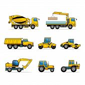 picture of dumper  - Set machines on white background - JPG