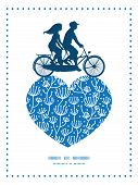 image of tandem bicycle  - Vector blue white lineart plants couple on tandem bicycle heart silhouette frame pattern greeting card template graphic design - JPG